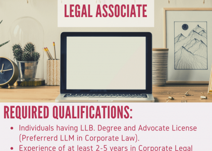 Vacancy for Legal Associate